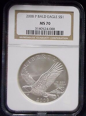 2008 Bald Eagle NGC MS70 Uncirculated Silver $1 Commemorative