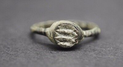 Ancient Roman Bronze Seal Ring 1St - 3Rd Century Ad