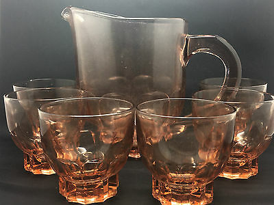 Pretty Art Deco Pressed Pink/Orange Glass Pims/Lemonade/Water Jug & 5 Glasses