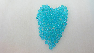 100, 4mm x 2mm Beautiful Crystal glass turquoise Gemstone Loose Beads