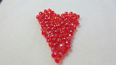 78pcs Loose Crystal Glass Faceted Flat Round 4mm Spacer Beads Findings Red