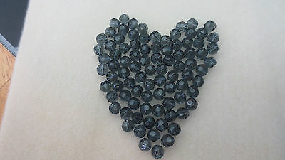 8mm Crystal Glass Faceted Round Loose Smokey Grey Beads