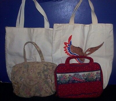 Red Quilted Floral Design Book Carrier & Quilted Make Up Bag -2 Canvas Tote Bags