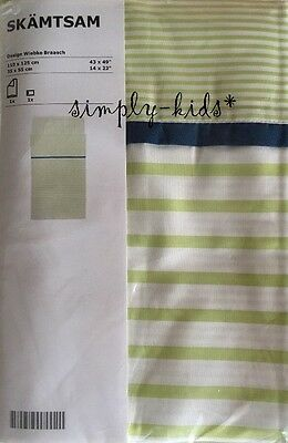 IKEA Crib Duvet Cover Pillowcase Stripe Green Blue SKAMTSAM Cot Quilt cover
