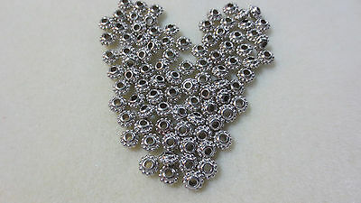 90pcs Silver Spacer Beads 8.5mm x 5mm Metalised