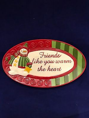 Fitz and Floyd Holiday Folk cookie candy plate Friend like you gift plate