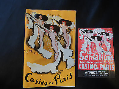 CASINO DE PARIS  PROGRAM - INTRODUCTION IN FRENCH & ENGLISH -1950'S?  + Flyer