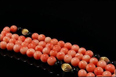 Vintage Chinese Natural Pink Coral Beads Onyx 14K Gold Necklaces