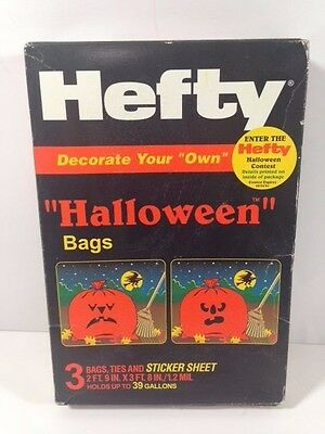 3 NOS Hefty Decorate Your Own Lawn Leaf Halloween Bags & Sticker Sheet 39 Gallon