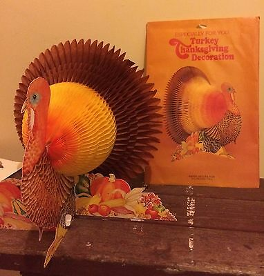 1980 Vintage Turkey Thanksgiving Decoration Paper American Greetings Honeycomb