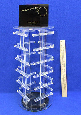 Jewelry Display for Earrings Rotating Counter Top Clear Plastic Acrylic 4 Sided