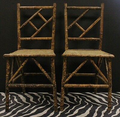 """Fab Pair of Bamboo Side Chairs w/ Wicker Cane Seats"""