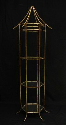 """Fab Vintage Brass Bamboo (3) Glass Tier Etagere"""