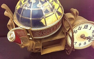 Vintage ORIGINAL 1976 SCHLITZ BEER SIGN LIGHTED GLOBE WITH CLOCK PARTS OR REPAIR