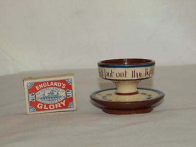 UNUSUAL LONGPARK TORQUAY POTTERY NIGHTLIGHT HOLDER Last in bed put out the light