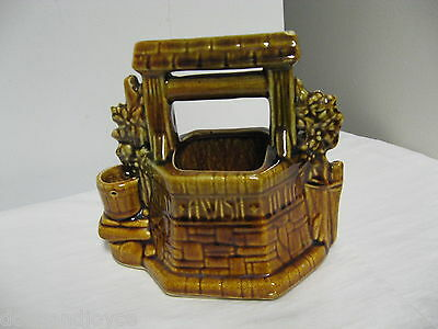 """Older McCoy USA incised 'Oh Wishing Well Grant A Wish to Me"""" Double Planter"""