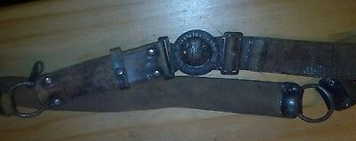 Vintage scout belt, retro, old, leather, classic.girl guiding, army