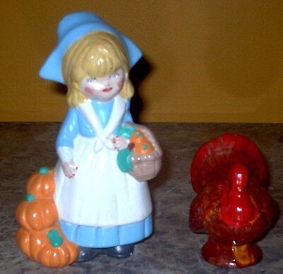 Ceramic Thanksgiving Set - 2 Pieces - Turkey & Pilgrim Girl