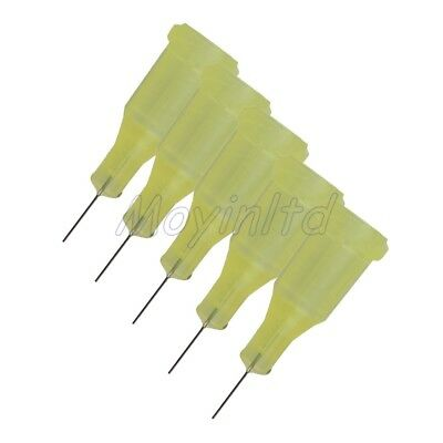 "100x Industrial Dispensing 1/4"""" 32Ga Stainless Steel Blunt Needle Yellow"