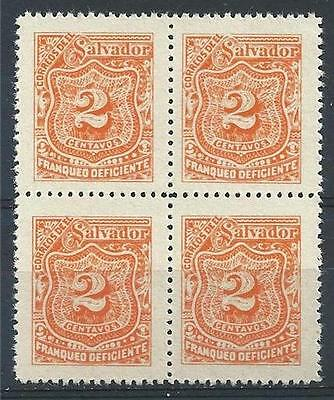 El Salvador 1899 Sc# J42 orange 2c Postage due block 4 MNH