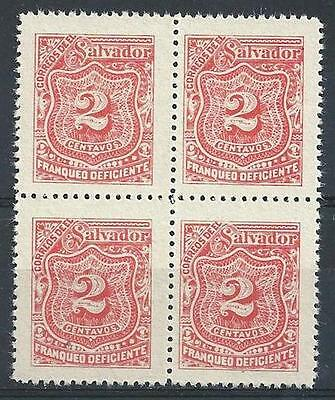 El Salvador 1896 Sc# J18 red 2c Postage due block 4 MNH