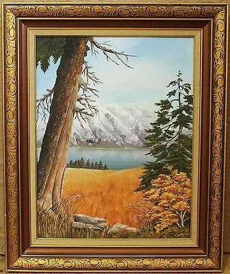 Vintage Painting On Board - Mountain View Landscape - Signed By Georgina Alsop