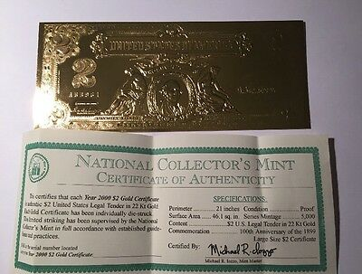 $2 Gold Leaf National Collectors Mint with certificate of authenticity