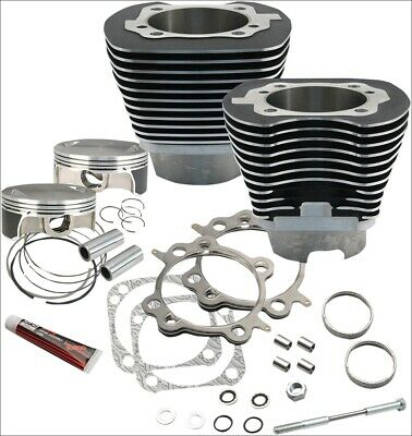 "S&S Cycle 117"" CI Big Bore Cylinder Kit Silver 10.9:1 Compression 07-16 Harley"