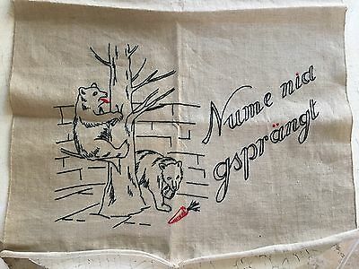 Vintage Hand Embroidered Black Bears Thick Linen Towel Tapestry Unused European
