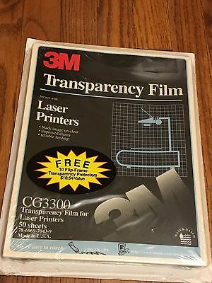 "3M CG 3300 Laser Printer Transparency Film 50/Box 8.5""X11"", RS7110 flip frame"
