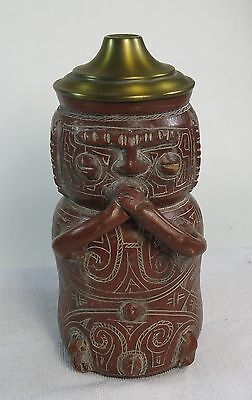 Ornate Antique Vintage Marajoara Brazil Figural Terra Cotta Urn Vessel Signed