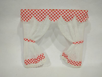 Vintage Lundby Red & White Checkered Swail & Sash White Curtains