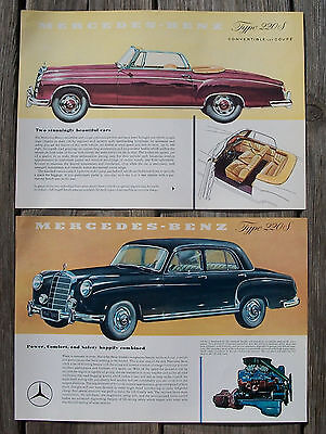 2 Vintage 1950's Mercedes Benz 220 S & 220 S Convertible One Sheet Brochure Nr