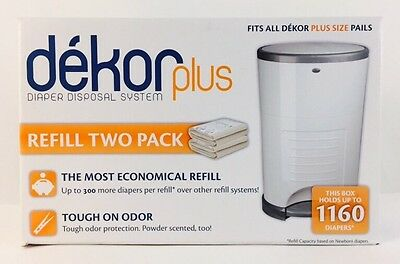 New Refill Two Pack Dekor Plus - Diaper Disposal System Up To 1160 Diapers