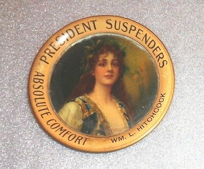 graphic old lithographed tip tray advertising President Suspenders
