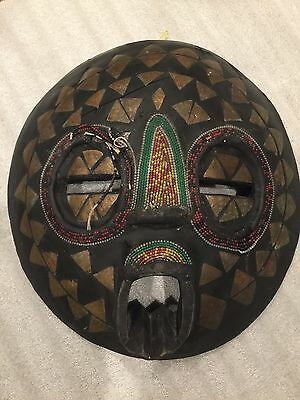 African Tribal mask antique . Hand Carved Wood Inlaid Brass Beaded