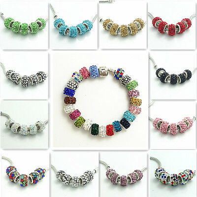 20pcs silver Rhinestone glass Fit European charms beads Bracelet  DIY Jewelry