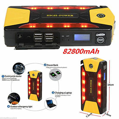 Portable 12V 82800mAh Car Jump Starter Pack Booster Charger Battery &Power Bank