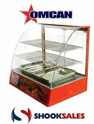 Omcan 21479 Commercial Curved Glass Hot Food Warmer Display Merchandiser Case NY