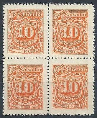 El Salvador 1899 Sc# J45 orange 10c Postage due block 4 MNH
