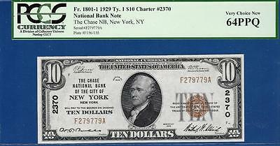 1929 $10 Chase National New York NY 2370 - PCGS Choice Uncirculated CU 64PPQ C2C