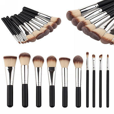 10pcs Pro Trousse pinceaux de maquillage cosmetique Makeup Brush Brosses Set Kit