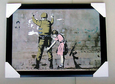 "BANKSY framed PRINT ""READY TO HANG"" GIRL SEARCHING SOLDIER"" BLACK WOODEN FRAME"