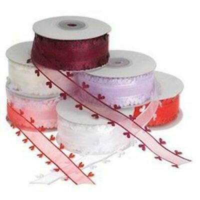 25mm Chiffon Ribbon with Satin Heart Edge and 6 Lovely Colours in Organza