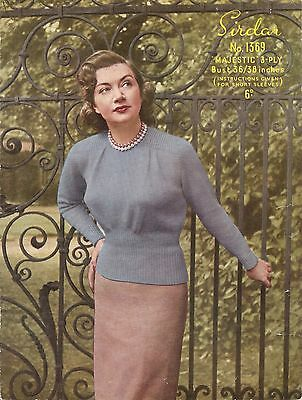 "Vintage Knitting Pattern Lady's Jumper 1940's 3 Ply 36-38"" Sirdar 1369"