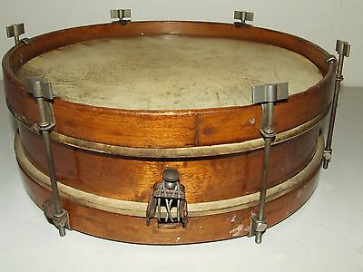 "Antique 1930's Rogers 12"" Wood Snare Drum w/Wood Hoops & Nickel Thumb Screw Lugs"