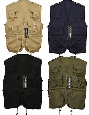 Mens Multi-Pocket Outdoor Fishing Hunting Utility Vest Waistcoat Gilet Jacket