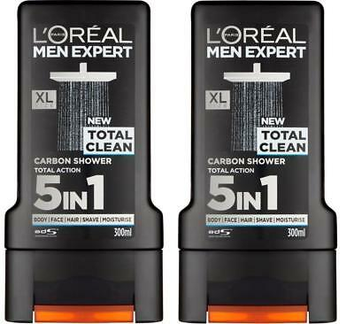 ** 2 X L'oreal Men Expert Total Clean Carbon Shower 5 In 1  300Ml Each New