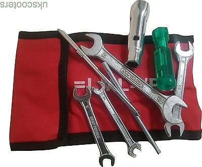 Vespa Px Lml T5 Handy Tool Kit With Red Woven Pouch Spanners Screw Driver New