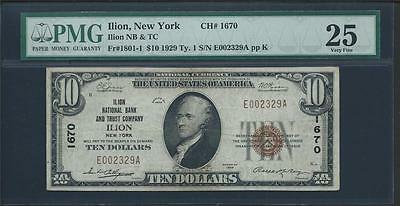 1929 Illion Ny $10.00 Type 1 With Ch#1670 And Pmg25 Please Lqqk!!